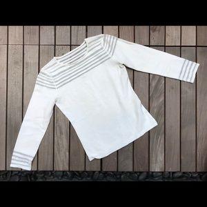Eliza J   White 3 Qtr Sleeve Top w Sheer Detail